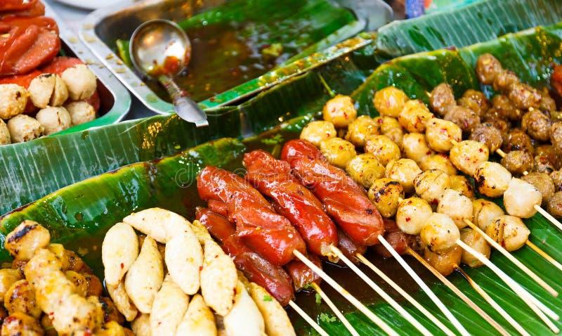 泰国样式烤食物 免版税库存图片