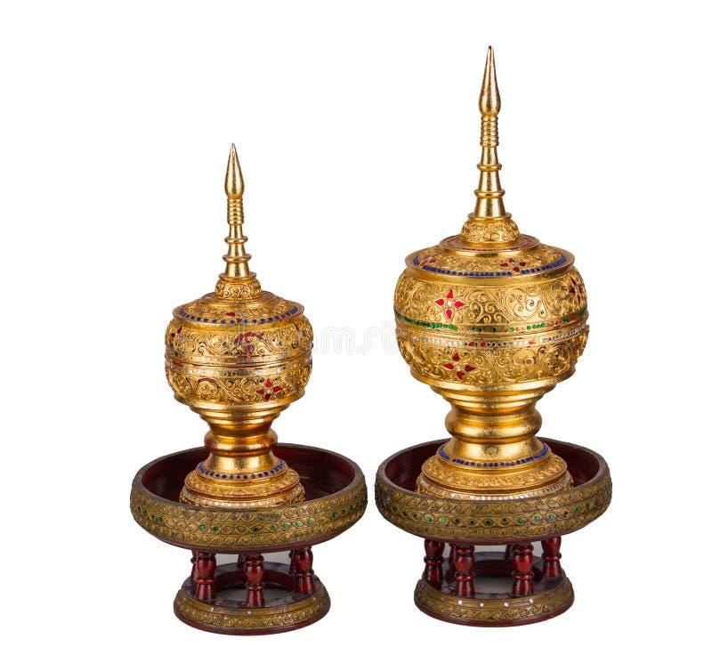 泰国样式被隔绝的金黄小箱 库存图片