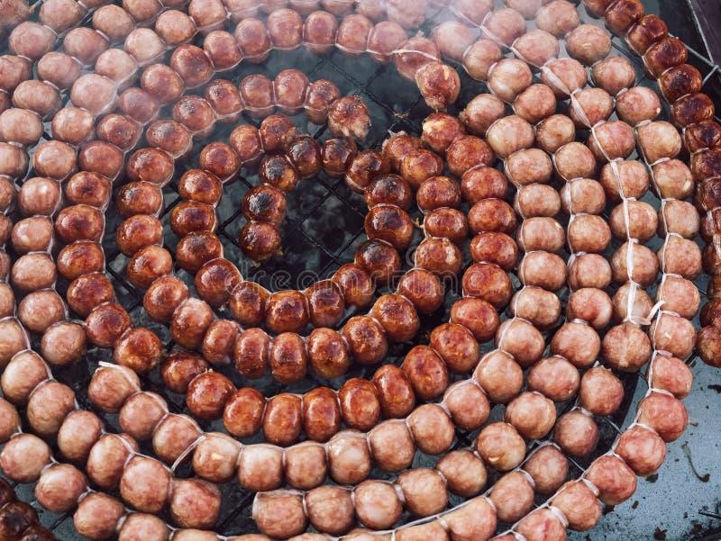 泰国样式香肠烤肉街道食物泰国 库存照片