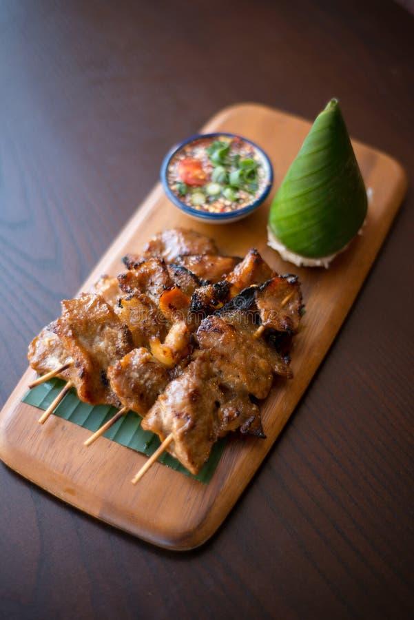 泰国格栅猪肉棍子 库存图片