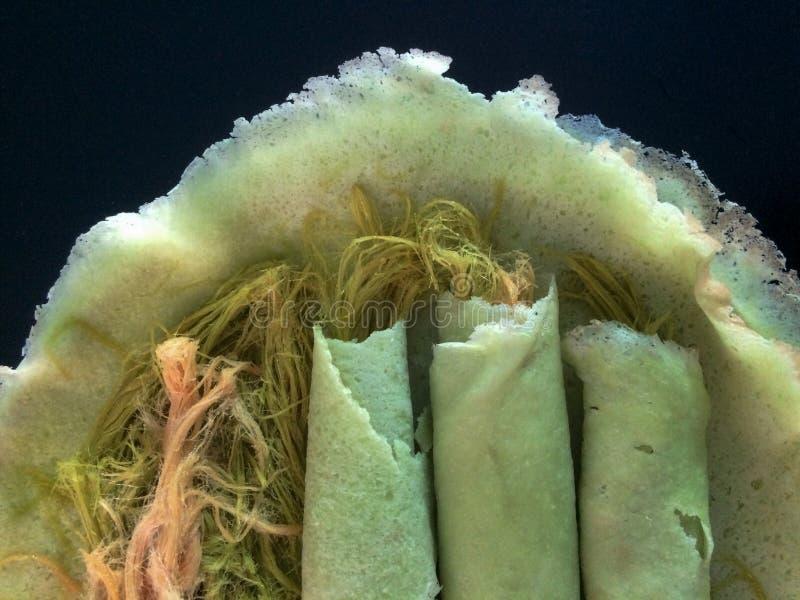 泰国棉花糖面卷饼薄煎饼棉花糖,神仙的绣花丝绒,棉花糖 免版税库存图片
