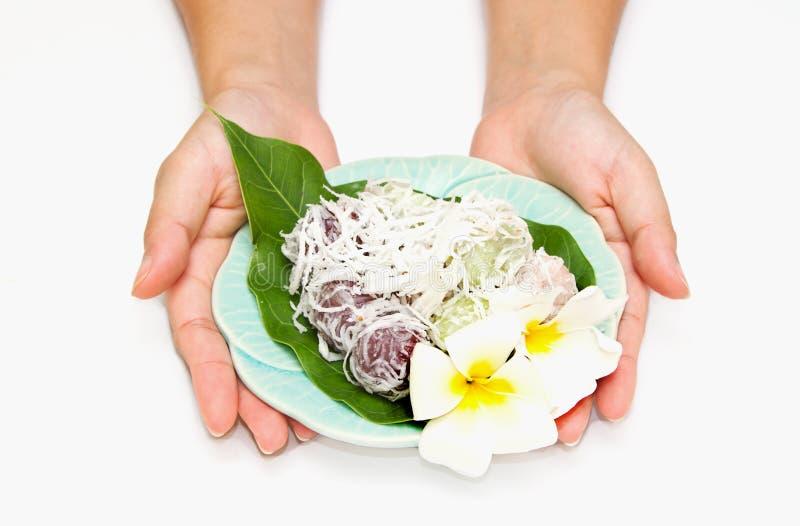 泰国椰子点心被磨碎的布丁 免版税库存照片