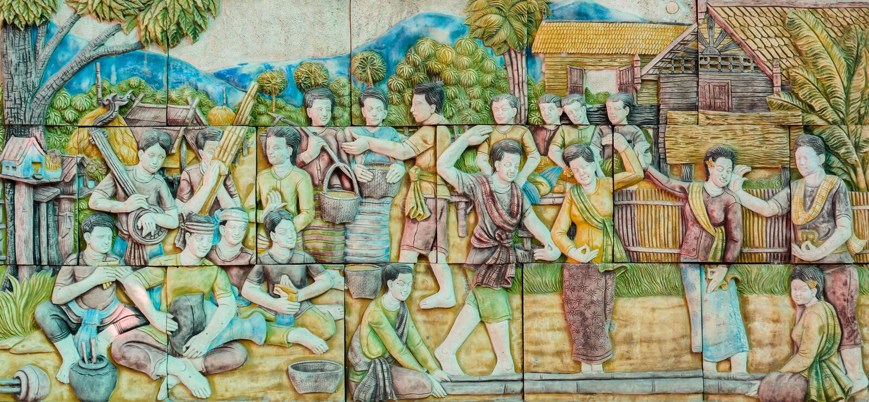 泰国民间舞泰国灰泥艺术  库存图片