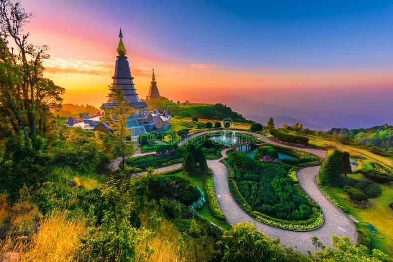 泰国清迈日出山多依山的波戈达 库存照片