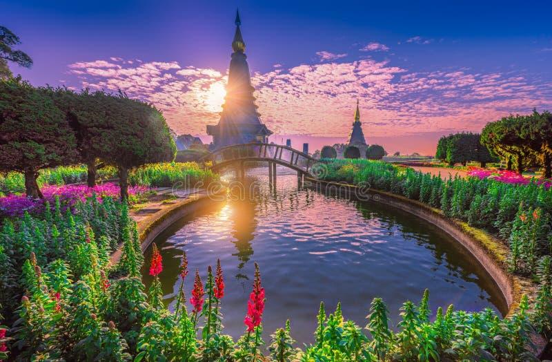 泰国清迈日出山多依山的波戈达 免版税库存照片
