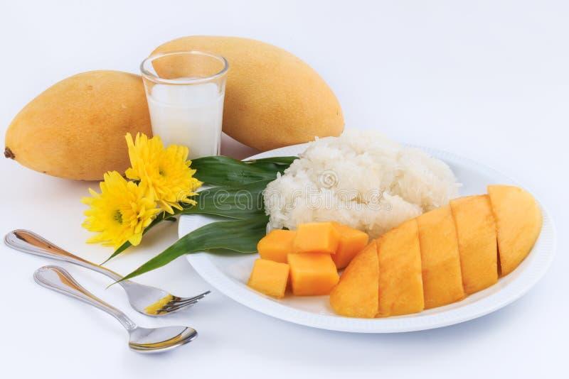 泰国甜黏米饭用芒果 椰子点心芒果牛奶螺母倾吐米样式甜泰国热带 库存图片