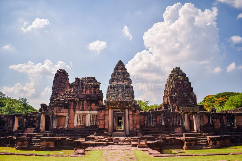 泰国的地标-老石城堡在呵叻的泰国,著名旅游景点披迈石宫 库存图片