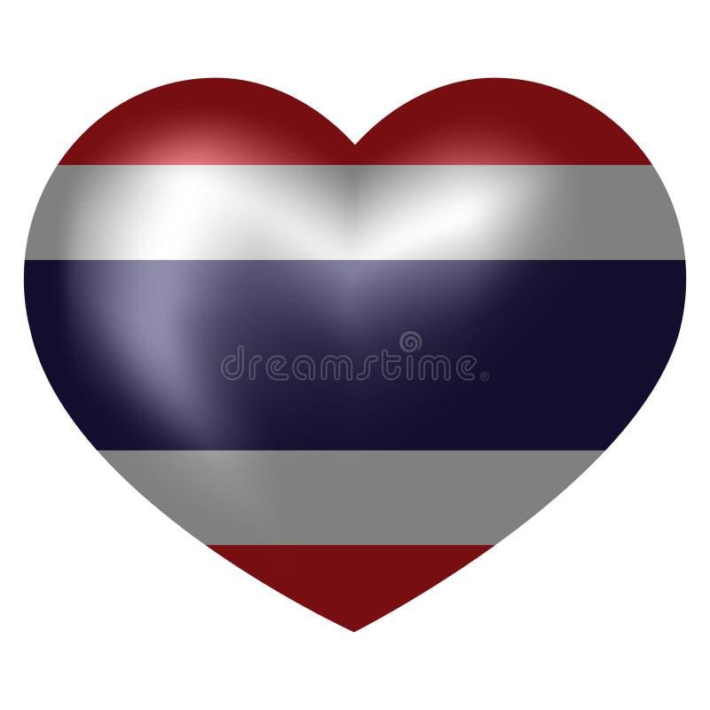 泰国的旗子心形的 r 库存例证