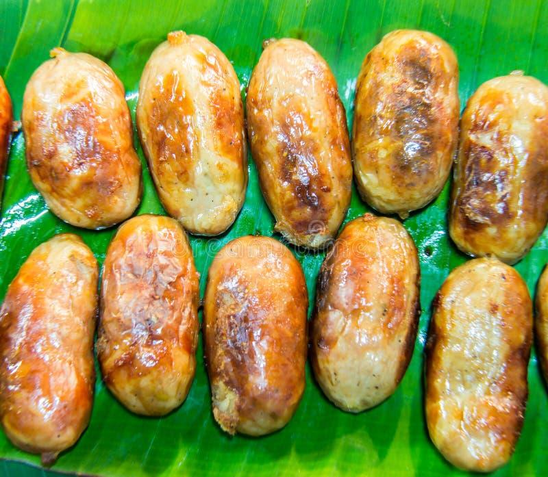 从泰国的格栅香肠 库存照片