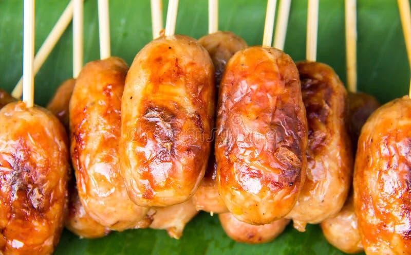 从泰国的格栅香肠 免版税图库摄影