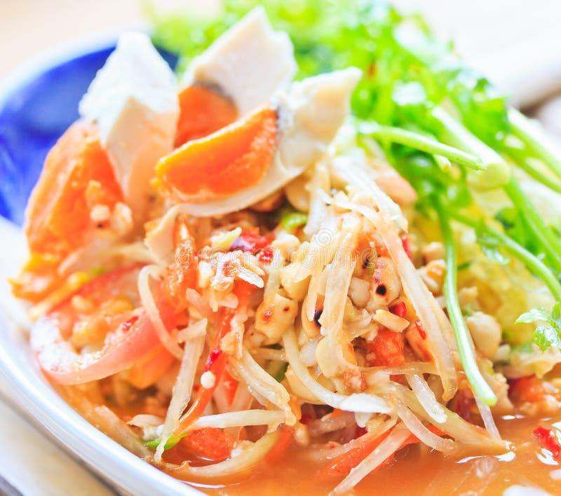 泰国的番木瓜沙拉 免版税库存照片
