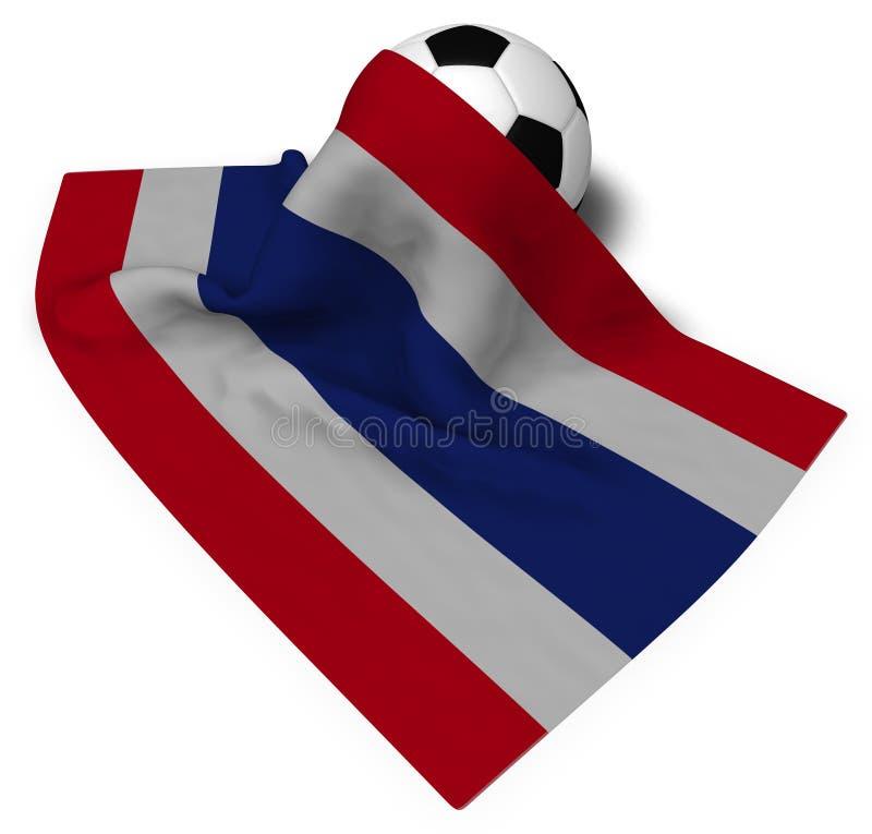 泰国的足球和旗子 向量例证