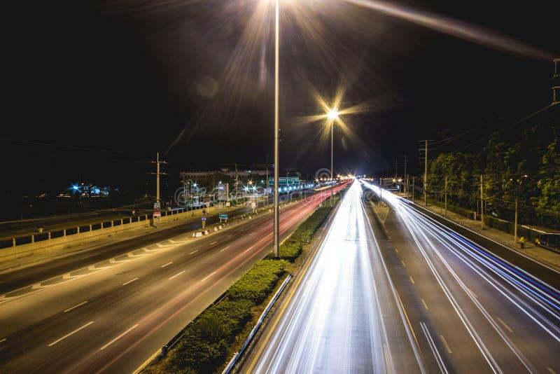 泰国的长的曝光交通场面 库存照片
