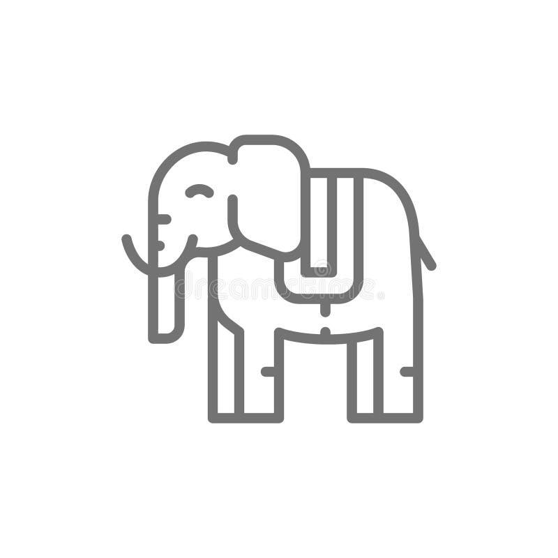 泰国神圣的大象,动物线象 向量例证