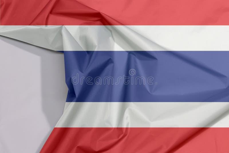 泰国织品旗子绉纱和折痕与白色空间 库存例证