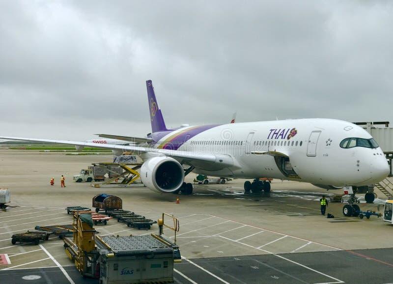 泰国航空公司的一架飞机在上海浦东机场降落 免版税库存照片
