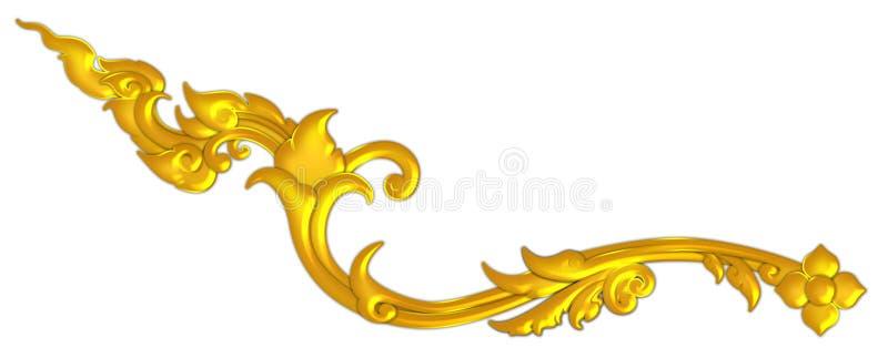 泰国艺术古董装饰金黄在泰国被隔绝的寺庙泰国样式样式 皇族释放例证