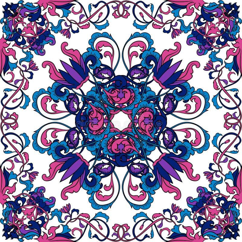 泰国艺术的模式 东方花卉无缝的装饰品 五颜六色的手拉的传染媒介 库存例证