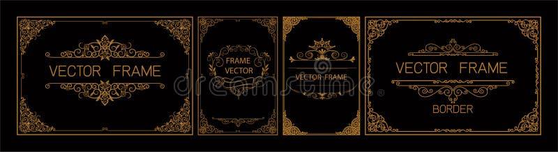 泰国艺术,金与泰国线的边界框架花卉为图片,传染媒介设计装饰样式样式 框架角落设计是p 库存例证