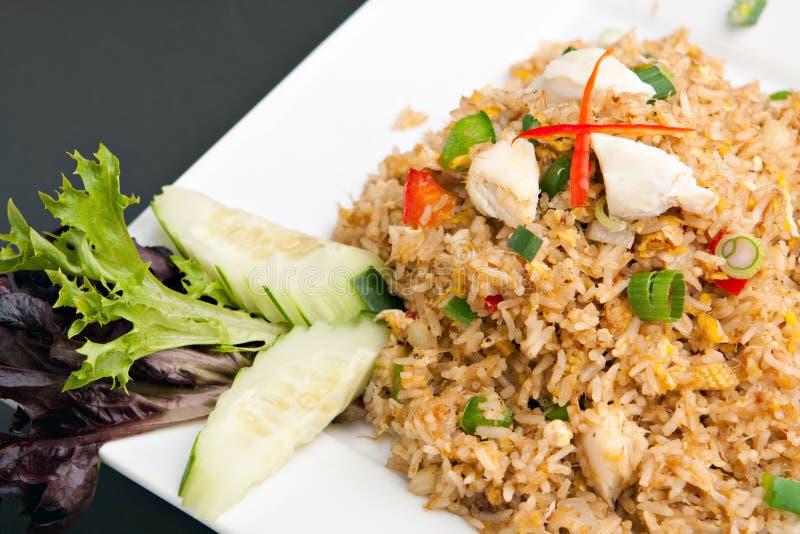 泰国螃蟹的炒饭 免版税库存图片