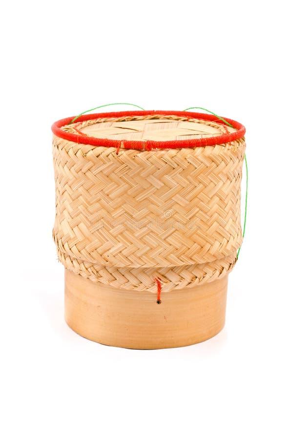 泰国被隔绝的老挝人原始的手织的竹黏米饭。 免版税库存照片