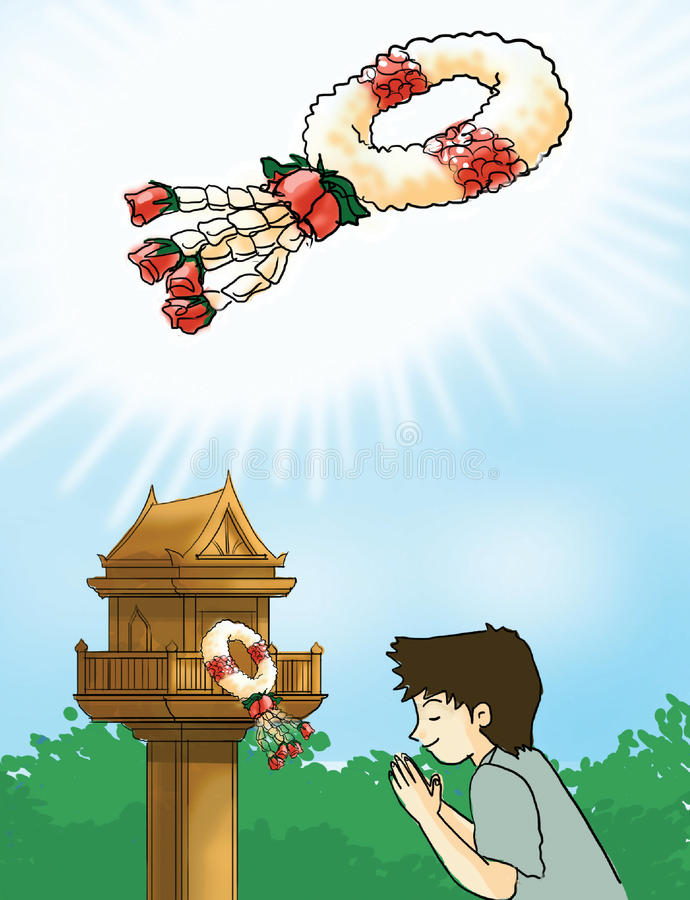 泰国诗歌选,花花圈 向量例证