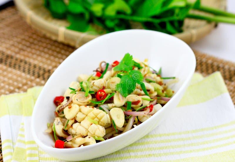 泰国辣海鲜沙拉 免版税库存图片