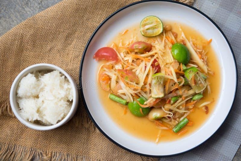 泰国辣绿色番木瓜 库存图片