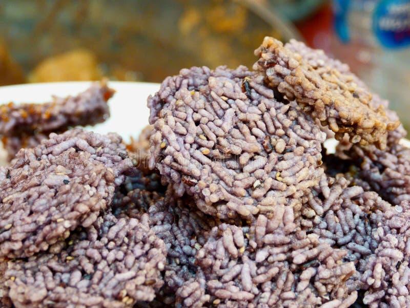 泰国酥脆米,泰国米薄脆饼干,关闭 库存照片
