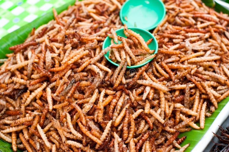 泰国食物在市场上。 油煎的粉虫 库存图片