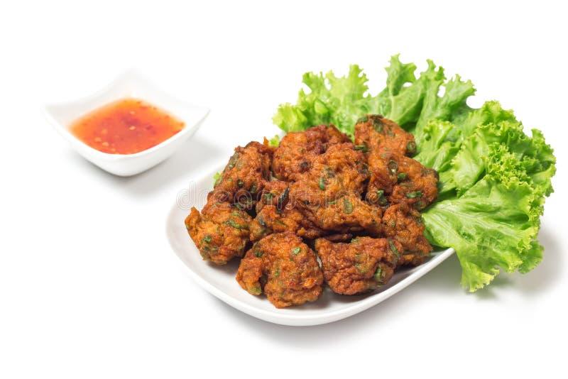 泰国食物泰国油煎的鱼糕叫托德Mun Pla 免版税库存图片