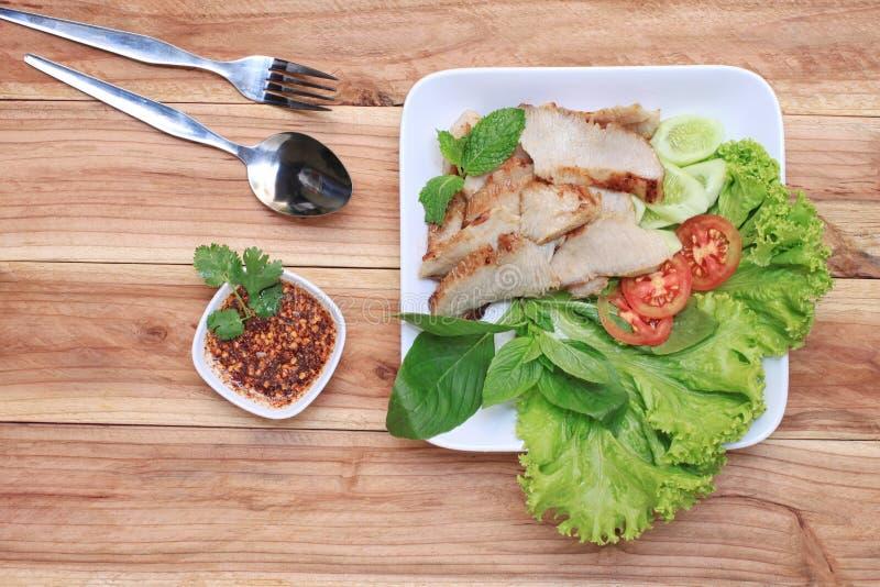 泰国食物烤猪肉  库存照片
