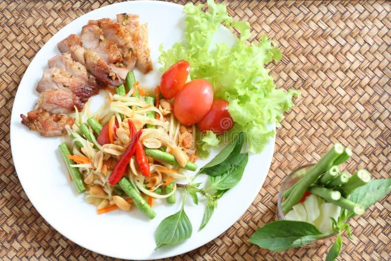 泰国食物的somtum 免版税库存照片