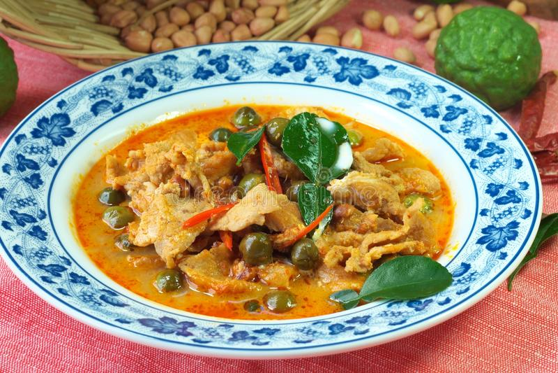 泰国食物红色咖喱panang 免版税库存照片