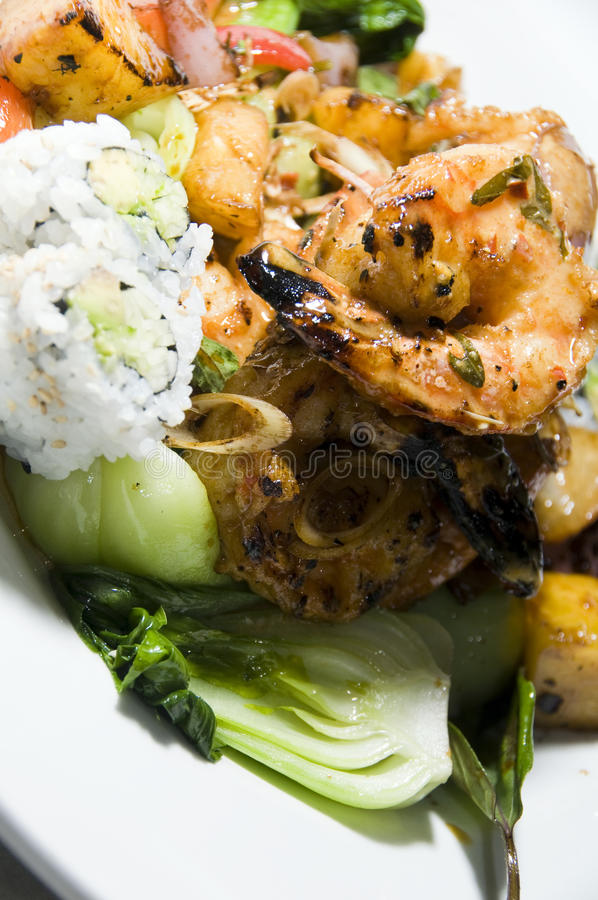 泰国食物草烤柠檬的虾 库存照片