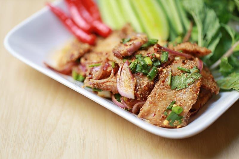 泰国食物辣烤猪肉沙拉  库存图片