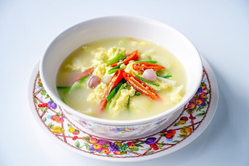 泰国食物,蒸的鸡蛋,蛋汤 库存照片