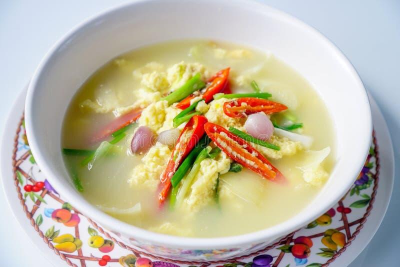 泰国食物,蒸的鸡蛋,蛋汤 免版税图库摄影