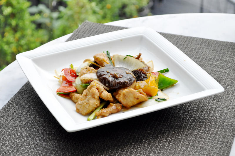 泰国食物-被搅动的菜和猪肉 库存图片