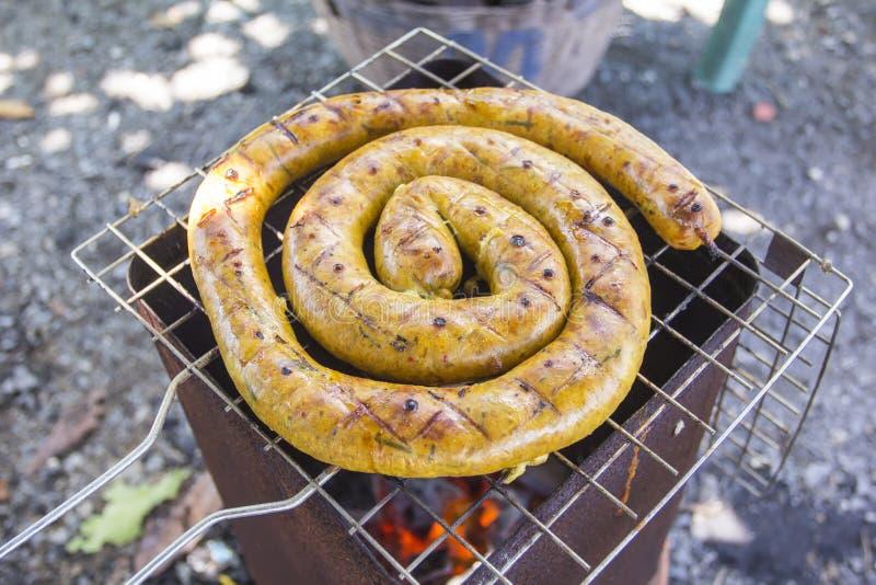 泰国香肠,自创北在格栅的泰国香肠 免版税库存图片
