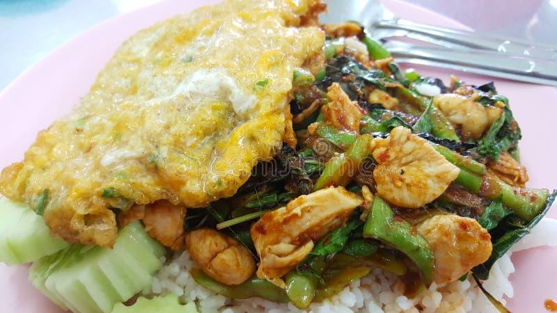 泰国鸡紫花罗勒用米和omlet 免版税库存图片