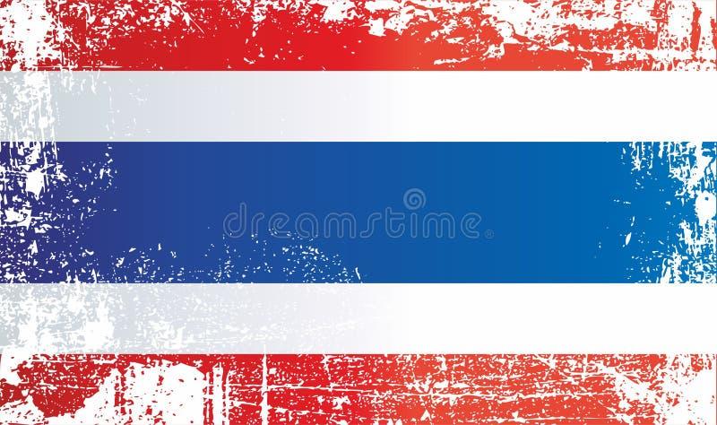 泰国,泰王国的旗子 起皱纹的肮脏的斑点 皇族释放例证