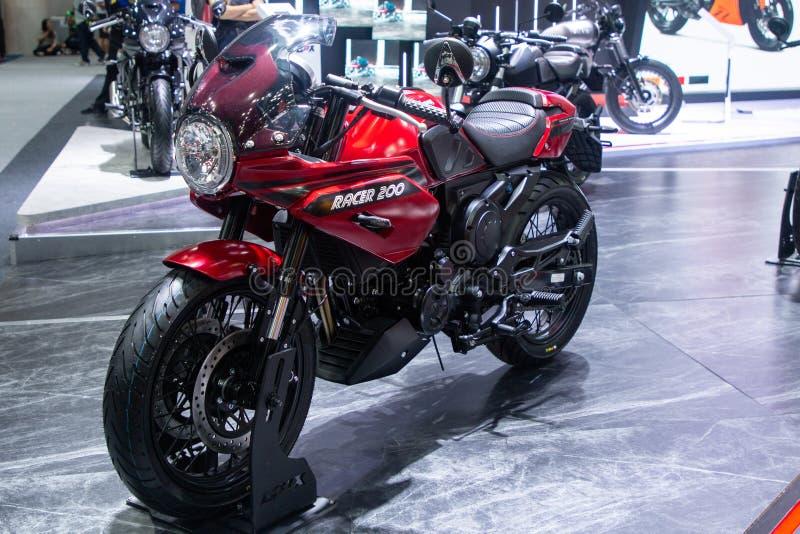 泰国- 2018年12月:GPX在马达商展提出的竟赛者200摩托车的关闭暖武里泰国 免版税库存图片