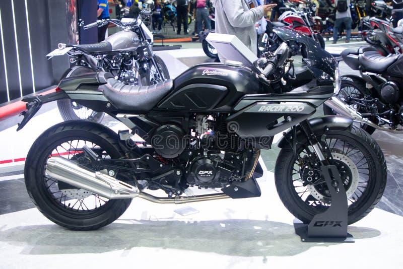 泰国- 2018年12月:GPX绅士在马达商展提出的竟赛者200摩托车的关闭暖武里泰国 免版税库存照片