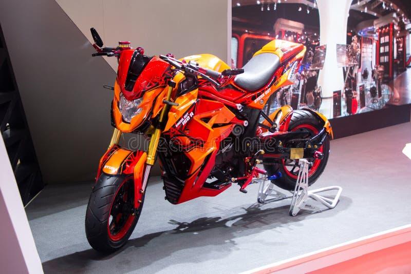 泰国- 2018年12月:RYUKA的关闭打开在马达商展提出的150 R摩托车暖武里泰国 免版税图库摄影