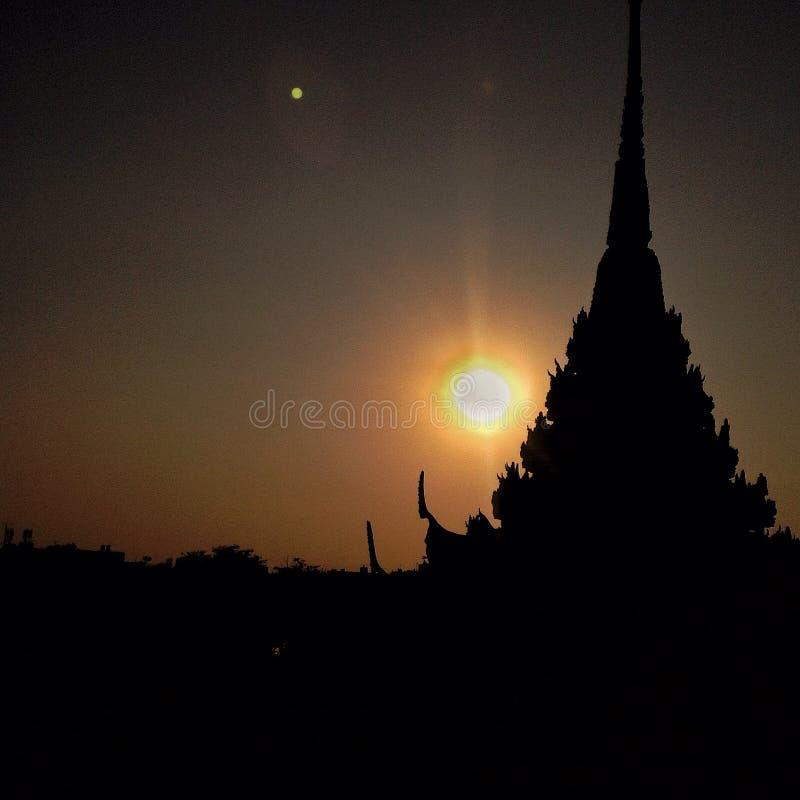泰国-泰国寺庙艺术- silluete 图库摄影