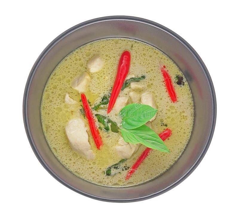 泰国绿色咖喱顶视图 免版税库存照片