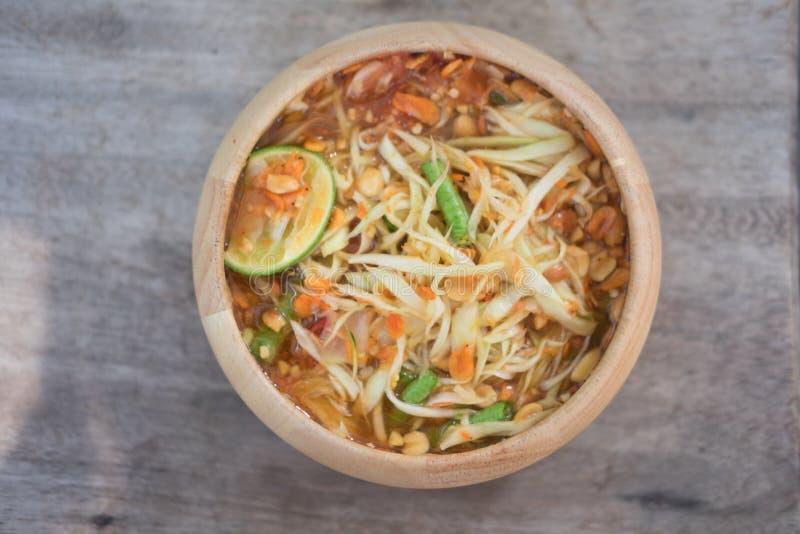 泰国绿色番木瓜沙拉索马里兰的胃 免版税库存照片
