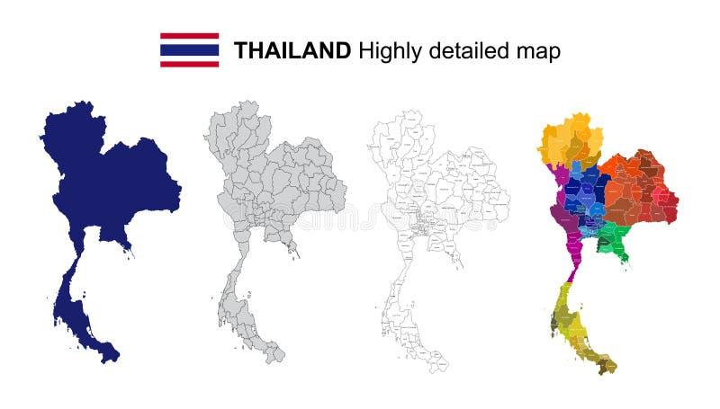 泰国-被隔绝的传染媒介高度详细的政治地图 向量例证