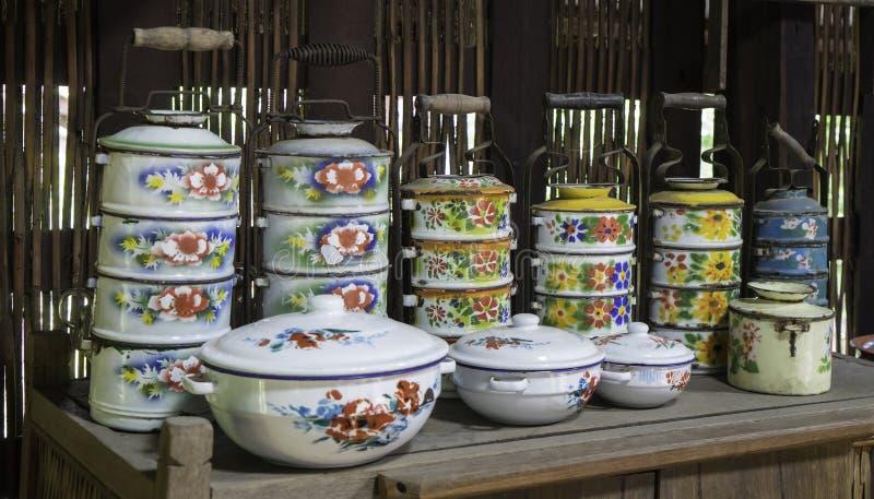 泰国Vitnage金属蒂芬食盒 库存照片
